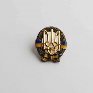 Значок Герб України Тризуб на вінку великий