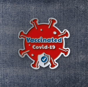 Значок Vaccinated Covid-19 Red